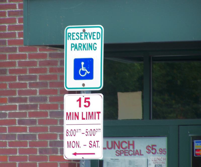 Handicapped parking sign at Museum Place, Salem